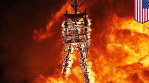 man runs into burning man fire ceremony tomonews youtube