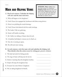 main and helping verbs worksheet worksheets