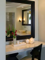 contemporary white antique vanity table design with big mirror and