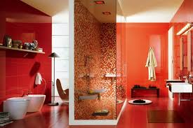 glossy red accent wall for modern luxury bathroom decorating ideas
