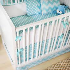 zig zag 3 piece crib bedding set in aqua boy bedding bedding