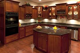 cherry wood kitchen cabinets with black granite modern cabinets