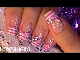 pink fun g i r l y nail art design tutorial youtube