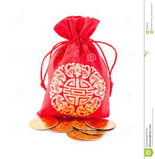 bag new year new year gift bag and gold ingot ornament stock photo