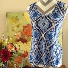 abstract pattern sleeveless dress gap tops blue abstract pattern sleeveless blouse top poshmark