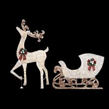 Outdoor Christmas Yard Decorations by Home Accents Holiday 60 In Led Lighted Standing Deer With 44 In
