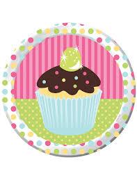 vaisselle jetable fete 8 assiettes en carton cupcake anniversaire 23 cm décoration