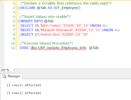 t sql insert into new table user defined table types and table valued parameters