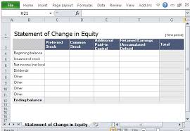 Excel Tables Templates Statement Of Change In Equity Template For Excel