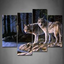 wolf home decor amazon com two wolf stand on river bank forest wall art painting