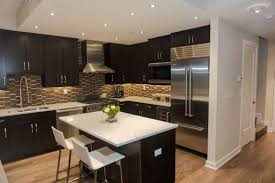 black kitchen cabinets with dark wood floors monsterlune