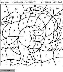 Thanksgiving Turkey Colors Turkey Color By Number Coloring Pages Ecoloringpage Printable
