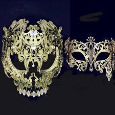 masquerade masks venetian metal filigree mask men women skull masquerade