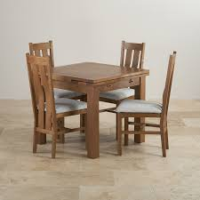 Oak Dining Table And Fabric Chairs Rustic Solid Oak Dining Set 3ft Extending Table With 4 Arched