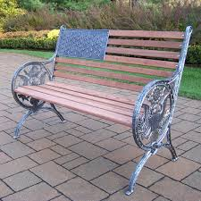 American Patio Furniture by Oakland Living Proud American Old Glory Flag Cast Iron And Wood