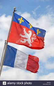 Flag Of Franc The City Of Lyon Flag Flies Alongside The National Flag Of France