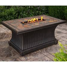 Firepit Burner Cascadian Rectangular Slate Topped Gas Firepit Table With