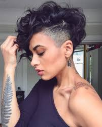 curly shaved side hair pixie cut shaved sides ladies hairstyle inspiration shaved