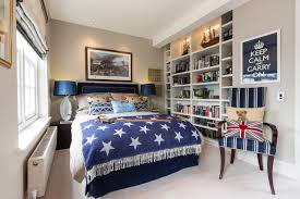 bedroom teen boy room decor ideas with wooden bed squre side