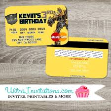 bumblebee transformer birthday invitations credit card invitations