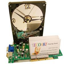 Circuit Board Business Card Business Card Holder Hard Drive Clock From Recycled Hard Drive And