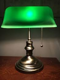 green glass shade bankers l reserved gold l silver l hollywood regency l art deco