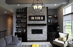 modern living room with black built ins