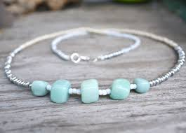 beaded jewelry necklace images Aqua gem mint long necklace aqua stone necklace long beaded jpg