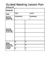 this is an easy to use guided reading lesson plan template