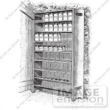 retro clipart of vintage cupboard shelves with canned goods in