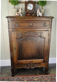 slim antique french carved tiger oak end table wine liquor