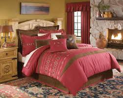 welcoming country style bedroom with white ruffled sheet also