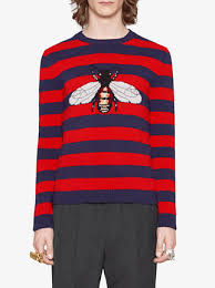 sweater with gucci striped wool sweater with bee 1 350 shop ss18
