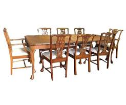traditional 9 piece queen anne dining table set w leafs 6336