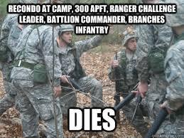 Army Ranger Memes - recondo at c 300 apft ranger challenge leader battlion