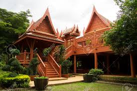 thai traditional style house with a new material such as reinforce