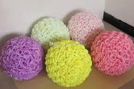 cheap 12 inch wedding silk pomander flower