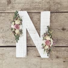 Wooden Nursery Decor by Dried Wildflower Wooden Letter N Floral Letter Wooden Letter