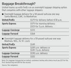 ual to offer fedex bag service wsj