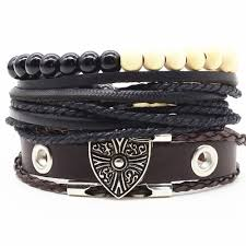 leather bracelet images Jewellery watches bracelets men 39 s leather bracelet shield jpg
