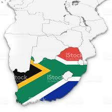 South Africa World Map 3d Map Of South Africa With South African Flag On White Background