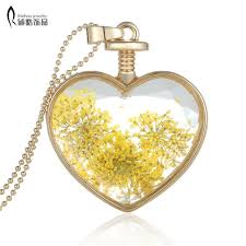 locket necklace aliexpress images Yellow dried flower heart locket necklaces gold chain necklace for jpg