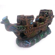 aquarium ornament big size pirate sunk ship shipwreck boat fish