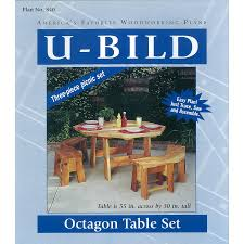 shop u bild octagon picnic table set woodworking plan at lowes com