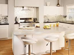 stunning open kitchen design using white cream mosaic tile