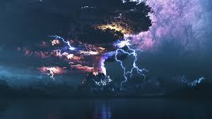 lightning over volcano eruption wallpaper 3815