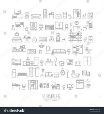 home decor line furniture home decor icon set modern stock vector 446071381