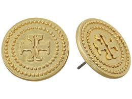 Tory Burch Wallpaper by Tory Burch Milgrain Logo Stud Earrings At Zappos Com
