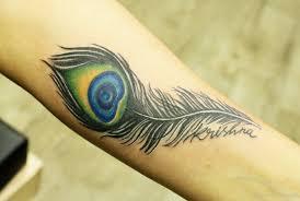 krishna peacock feather tattoo