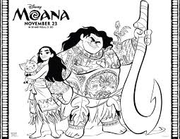 moana and maui coloring page printable moana maui coloring